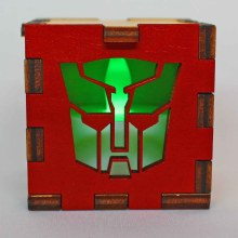 Transformers Autobot Wood Lit Green LED Tea Light
