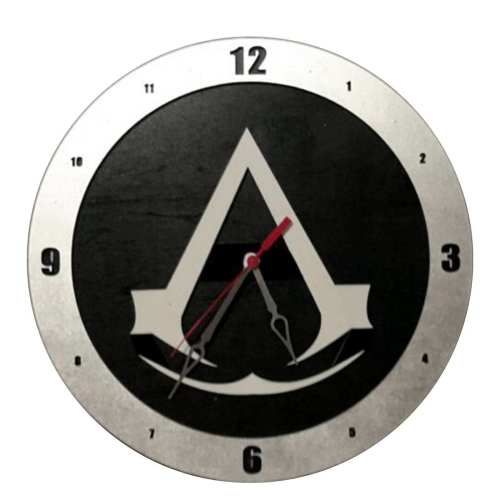 Assassin Creed Clock on Black Background