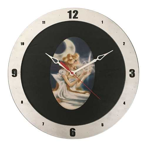 Sailor Moon Clock on Black Background