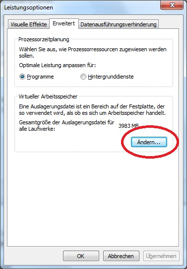 Crucial M4 SSD Konfiguration Windows 7 Auslagerungsdatei