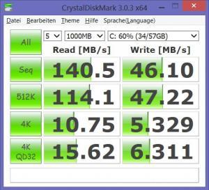 Benchmark eMMC Medion P2214T