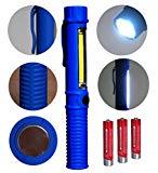 Tragbare LED Arbeitsleuchte Taschenlampe und COB Flutlicht mit Befestigungs-Clip und Magnet.Sehr geeignet für Heim, Auto, Camping, Emergency Kit, Werkstatt und mehr!Plus KOSTENLOS Batterien