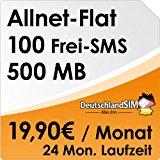 DeutschlandSIM Flat [SIM & Micro-SIM] - 24 Monate Vertragslaufzeit (All-Net-Flat, 100 Frei-SMS, 500MB Daten Flat, 19,90 Euro/Monat) O2-Netz