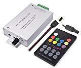 LitaElek 18 Tasten-Ton-Sensor Musiksteuerung RF Fernbedienung DC 12V-24V, 12A Musik Aktiviert RF-Empfänger für RGB 5050 3528 LED-Streifen Farbwechsel Mit Beat (Aktualisierte Version)