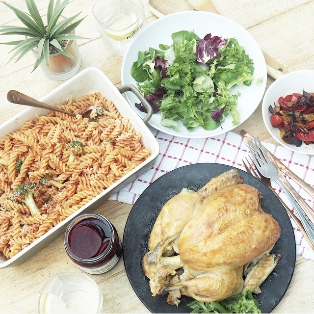 roast chicken pasta salad
