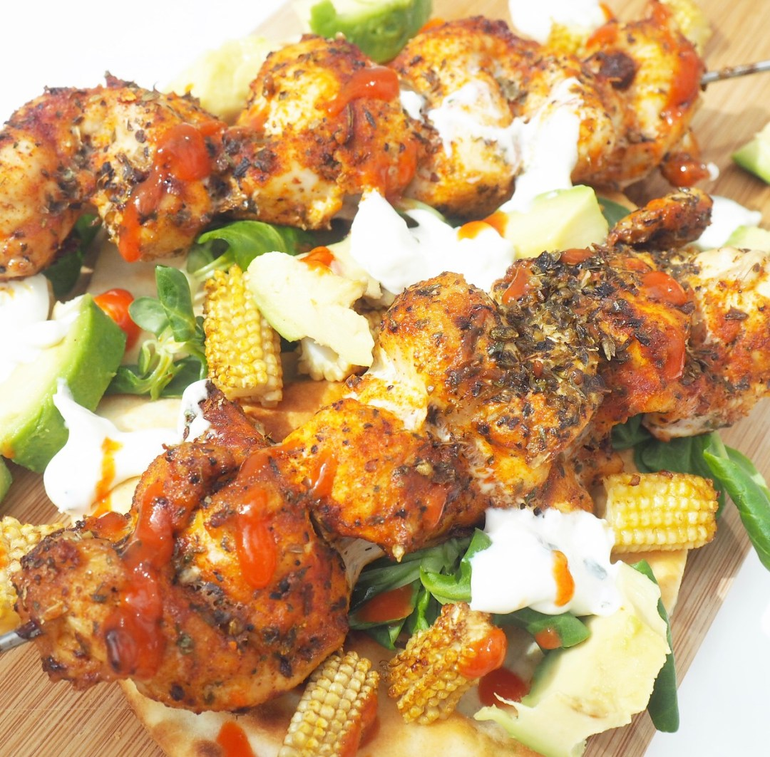 Herby Chicken Skewers with Charred Soy & Lime Baby Corn & Avocado