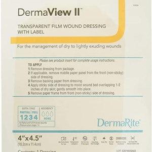 "DermaView II (Tegaderm Type) Border Frame Transparent Film 4""x5"" 50ea/bx"