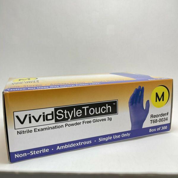 BOX of 300 Medium NITRILE GLOVES Powder Free , Purple ,Vivid Style Touch