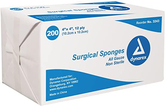 """Gauze Sponge, 4""""x4"""" 12-ply, N/S 200ea/bg 10bg/cs"""