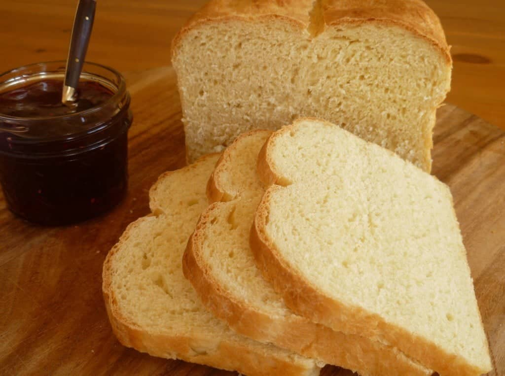 buttermilk bread sliced with jam