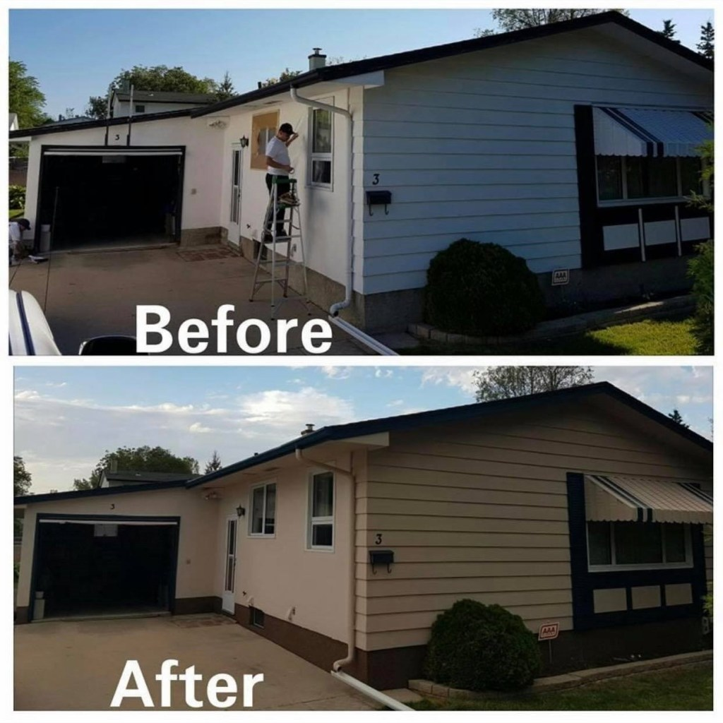 Before painting and after painting image of a house