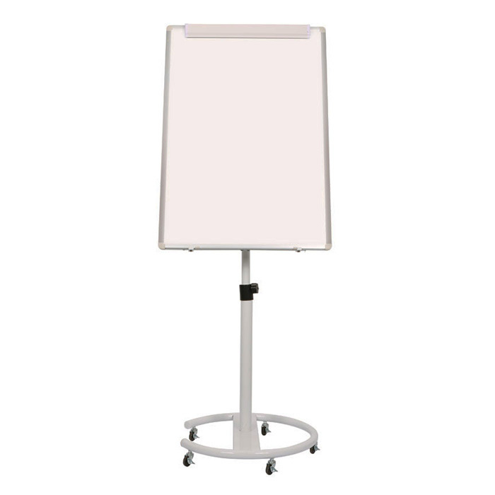 Mobile Flipchart Stand on Single Support and Castor Wheels