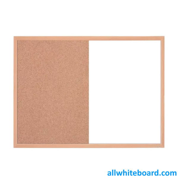 Combination Dry-Erase & Cork Board Surface Finish Wood Frame