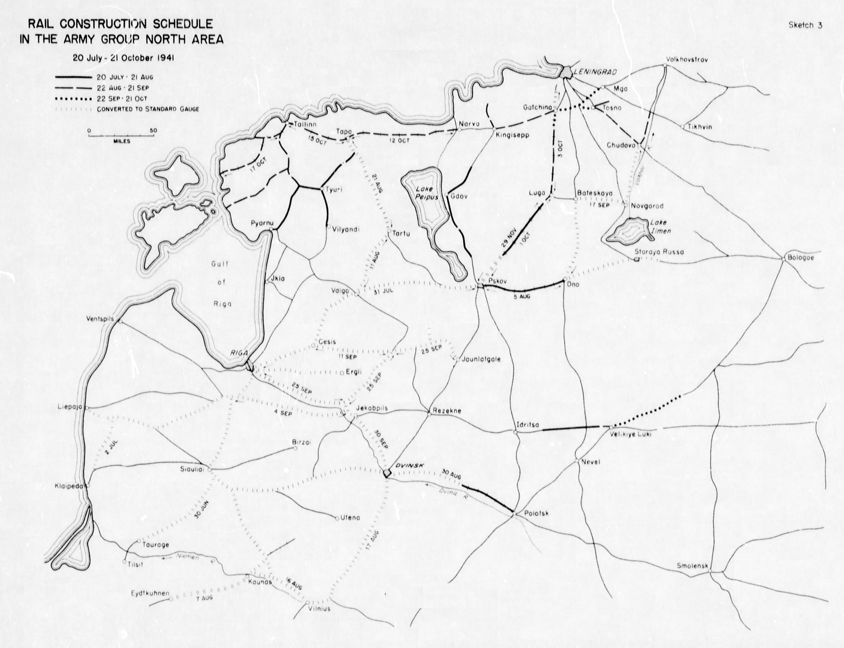 Sketch 2 rail construction schedule in the army group north area