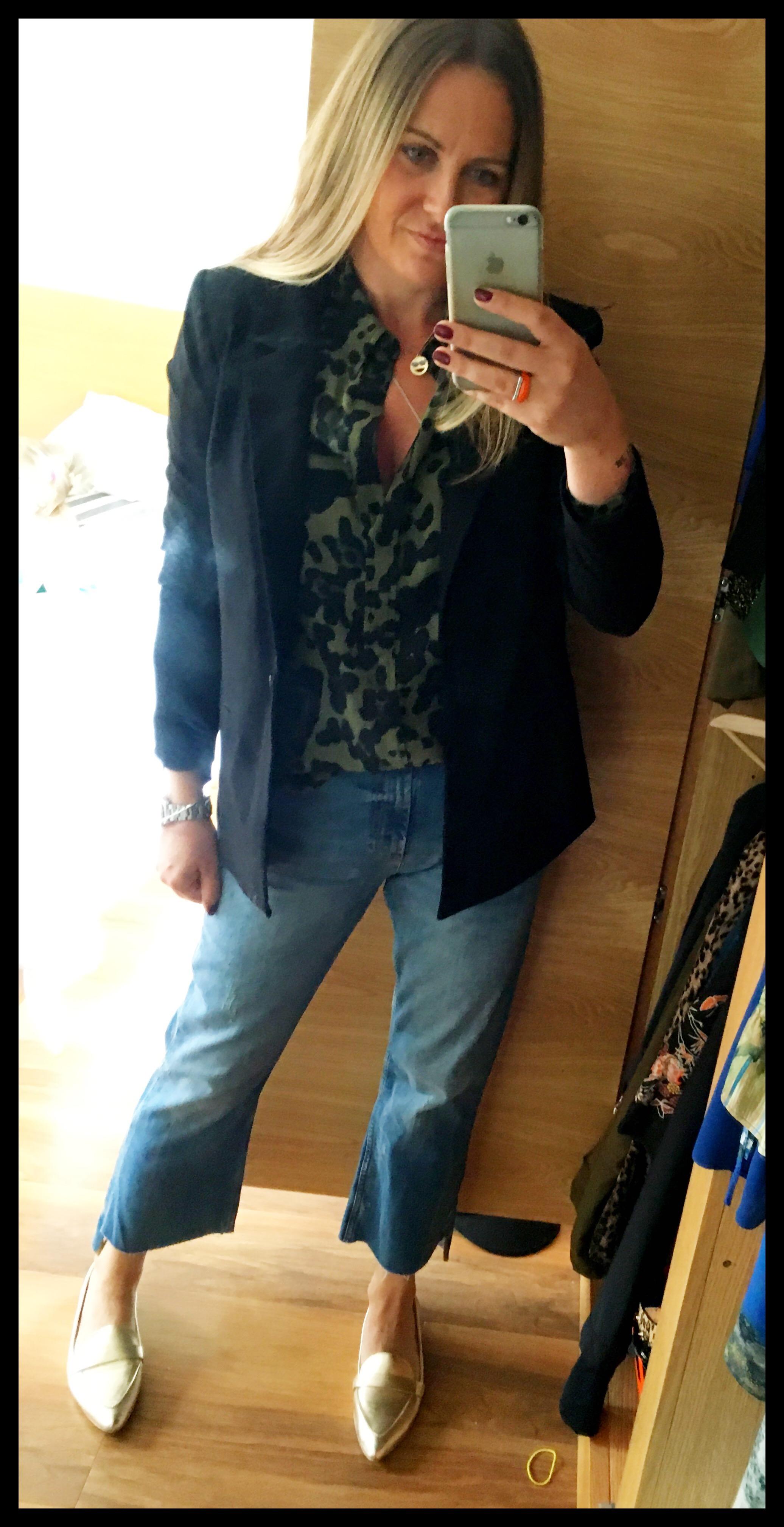 6c8e209fa98c New Zara stepped hem mid rise jeans (my new favourites), Topshop gold  leather Kimmi shoes, Topshop khaki leopard print shirt, Hush black jacket.