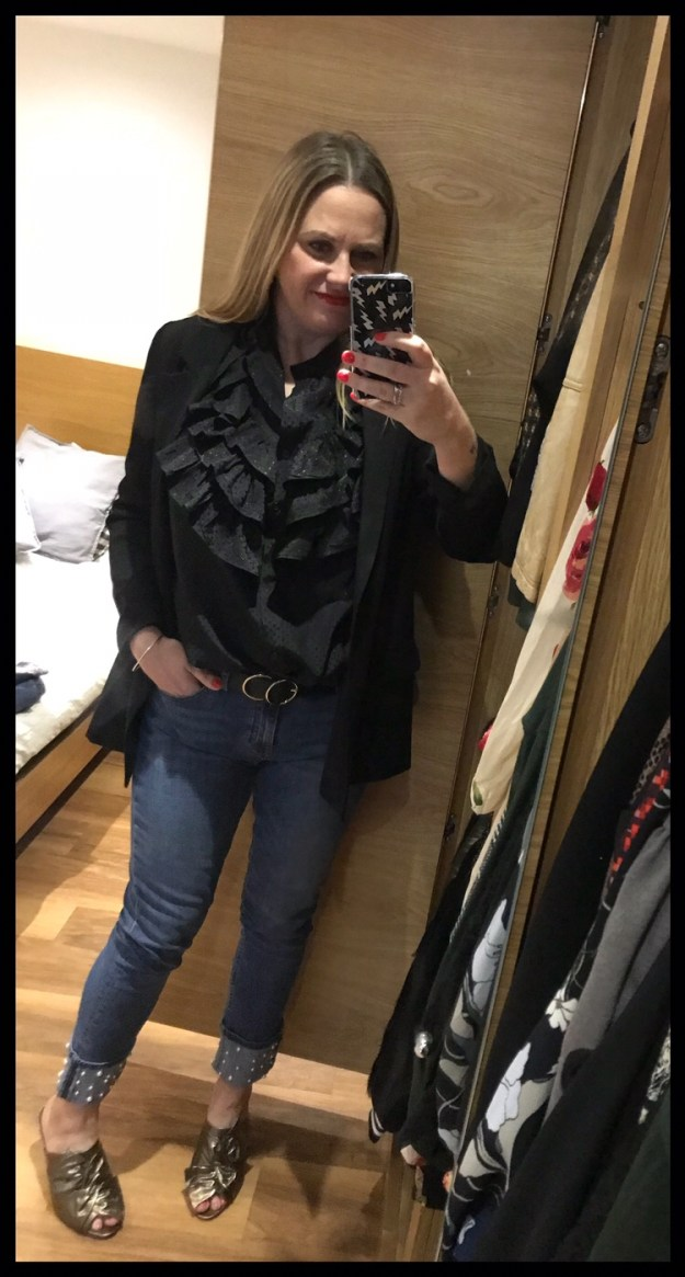 932633483c Zara pearl cuff jeans (sold out), Stories shirt, M&S bronze mules (old),  Alexander McQueen clutch, All Saints jacket, River Island belt (GRAZIAJAN18  for 20% ...