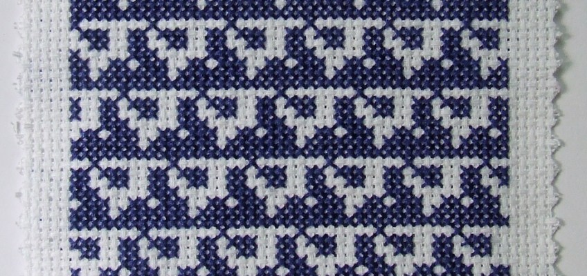 Blue Binary Cross Stitch