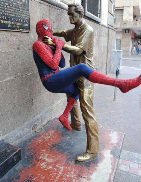 Choking statue