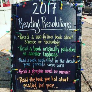 2017 Reading Resolutions chalk board
