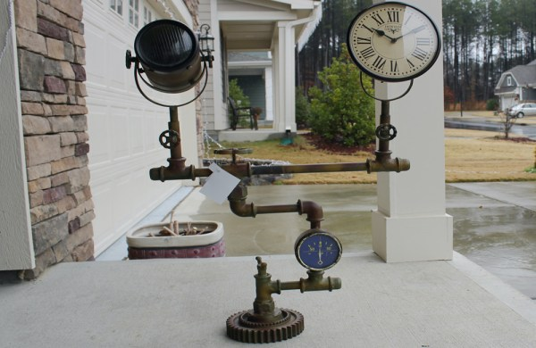 Upcycled Iron Floor Lamp Clock (Brown Camo)