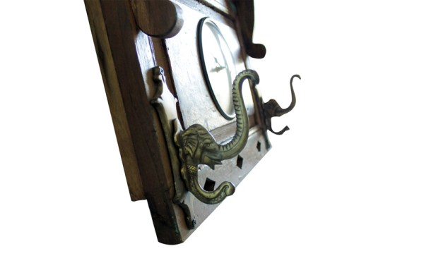 Upcycled Old Window Clock with Brass Hooks (Dark Green)