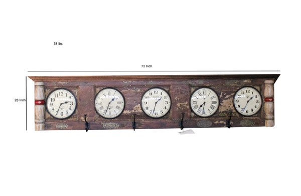 Upcycled Old Door World Time Clock (Horizontal)