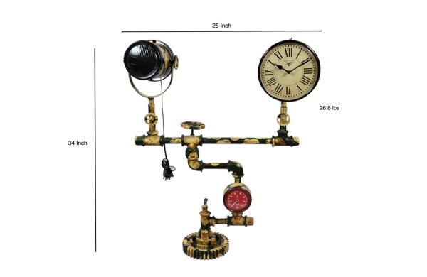 Upcycled Iron Floor Lamp Clock (Green Camo)