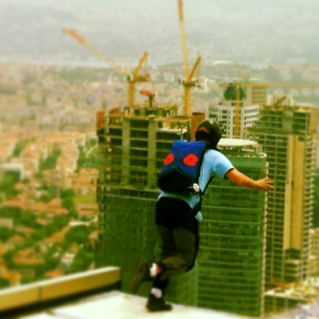 Getting ready to leap from tallest residential building in Europe.