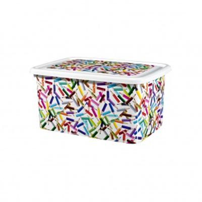 Caja organizadora con estampado de lapices