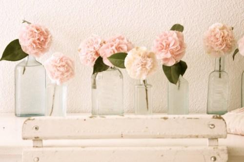 peach-flowers-glass-bottles