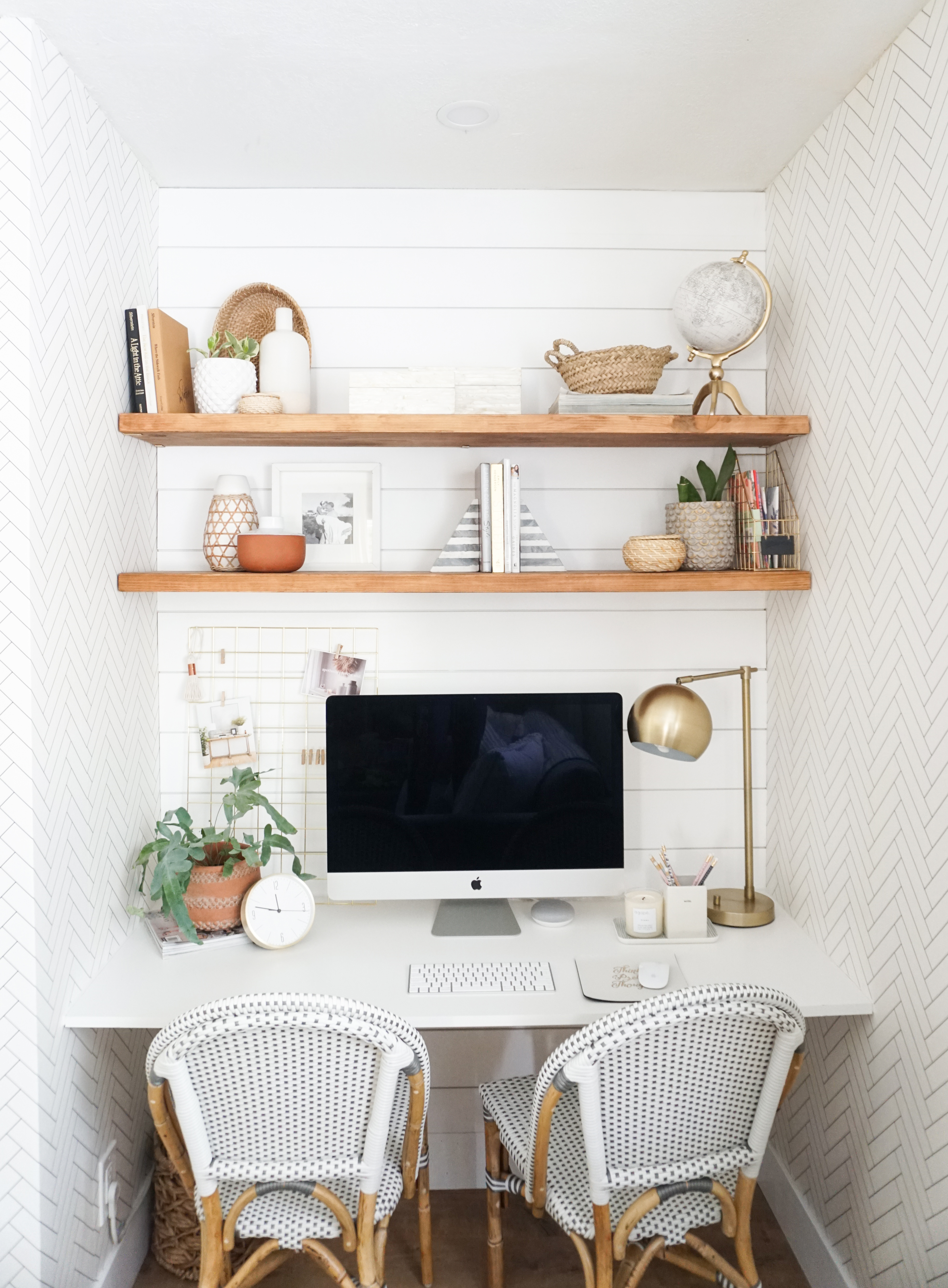 A closet turned modern chic space saving office nook reveal ...