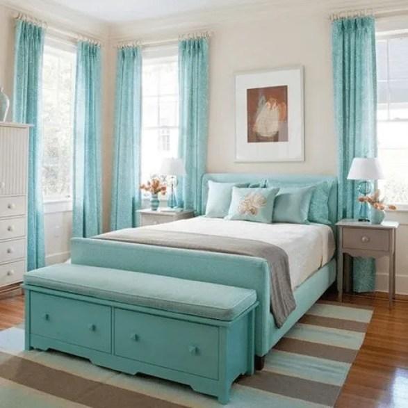 Quarto com decoração em azul turquesa