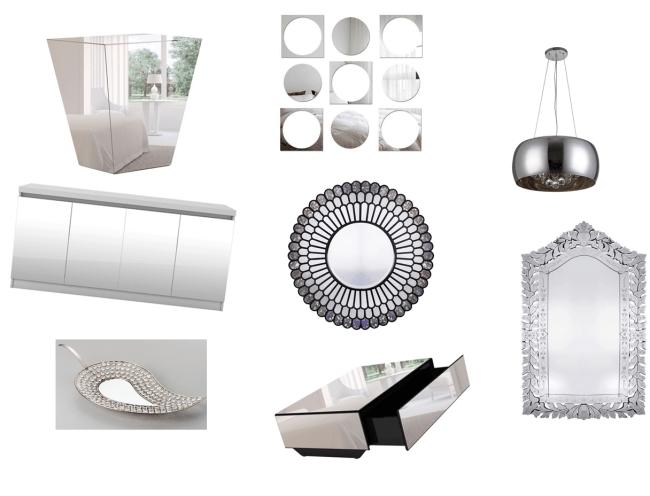 Imagens de objetos e móveis espelhados