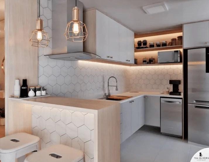 Iluminação da cozinha planejada
