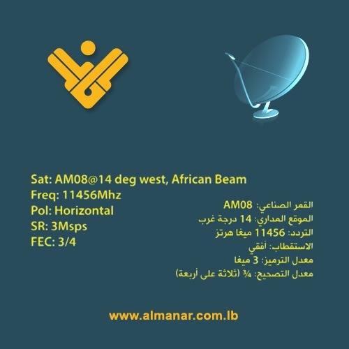 قناة المنار اللبنانية جديد القمر Express Am8 At 14 West
