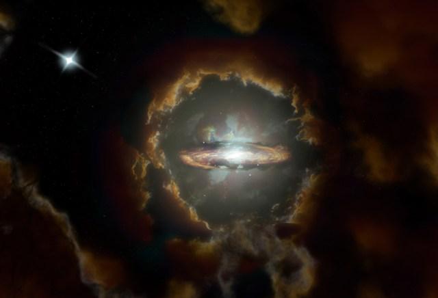 Representación artística del Disco Wolfe, una galaxia espiral giratoria masiva del Universo primitivo. La galaxia fue descubierta cuando ALMA examinaba la luz de un cuásar más distante (arriba a la izquierda). Créditos: NRAO/AUI/NSF, S. Dagnello