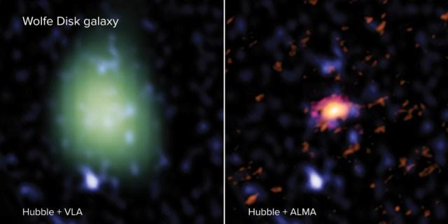 El Disco Wolfe visto por ALMA (en rojo, a la derecha), por el VLA (en verde, a la izquierda) y el telescopio espacial Hubble (en azul en ambas imágenes). Se usaron ondas de radio para observar los movimientos de la galaxia y la masa de polvo y gas atómicos con ALMA y medir la cantidad de masa molecular con el VLA. El telescopio Hubble observó estrellas masivas en luz UV. La imagen del VLA tiene una menor resolución espacial que la de ALMA, y por eso se ve más grande y pixelada. Créditos: ALMA (ESO/NAOJ/NRAO), M. Neeleman; NRAO/AUI/NSF, S. Dagnello; NASA/ESA Hubble