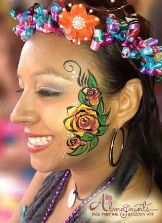 face painting in San Antonio, the best face painter in San Antonio, the most popular face painter in San Antonio, professional face painter, Almapaints, rose face painting, fiesta, river parade