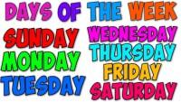 اسماء ايام الاسبوع بالانجليزي