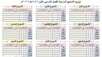 جدول الاسابيع الدراسية 1443 الفصل الثانى