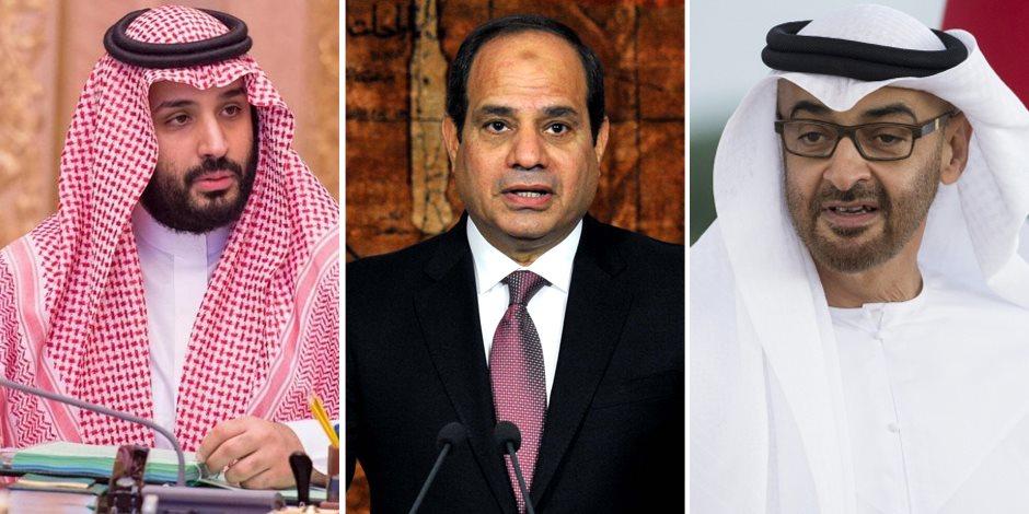 محمد بن زايد وعبد الفتاح السيسي ومحمد بن سلمان