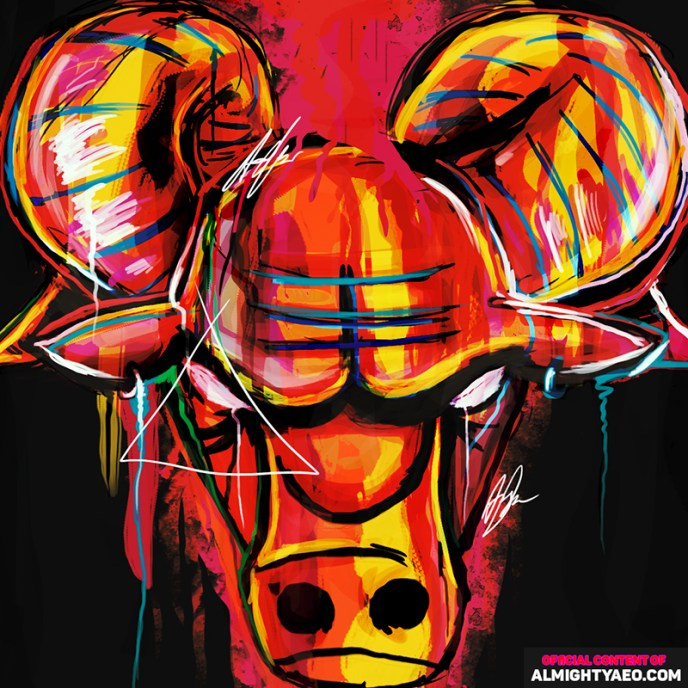 painting of the bulls logo by almighty aeophex