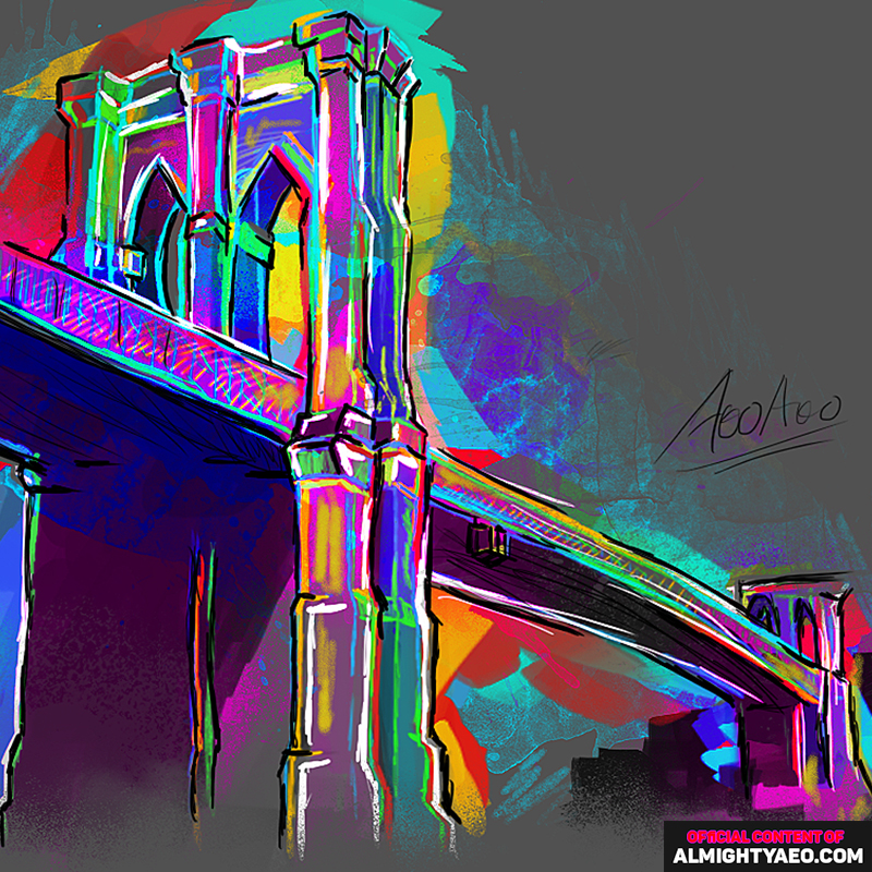 painting of the brooklyn bridge by the almighty aeophex
