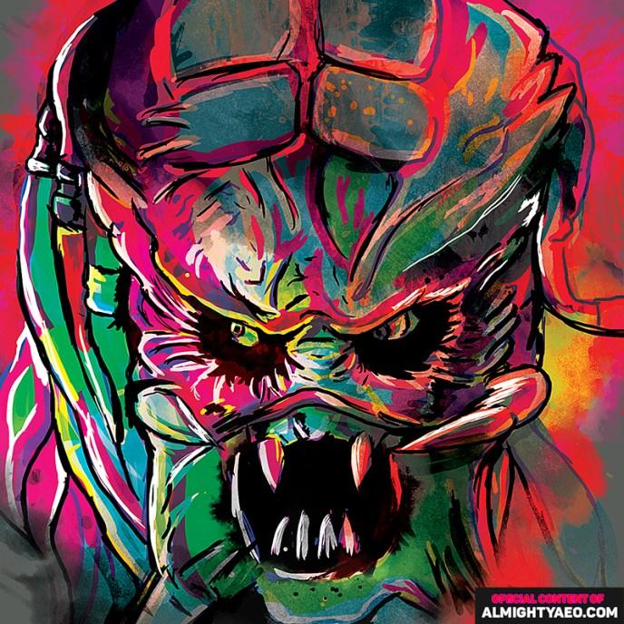 Painting of movie monster predator