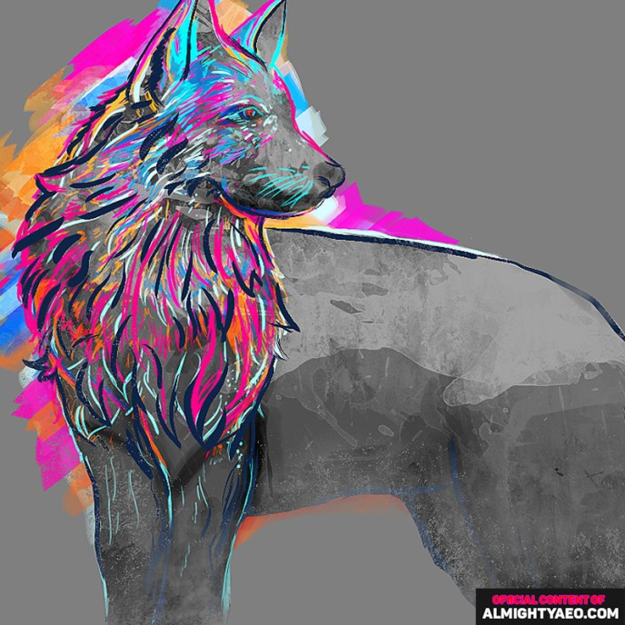 painting of a wolf by the almighty aeophex