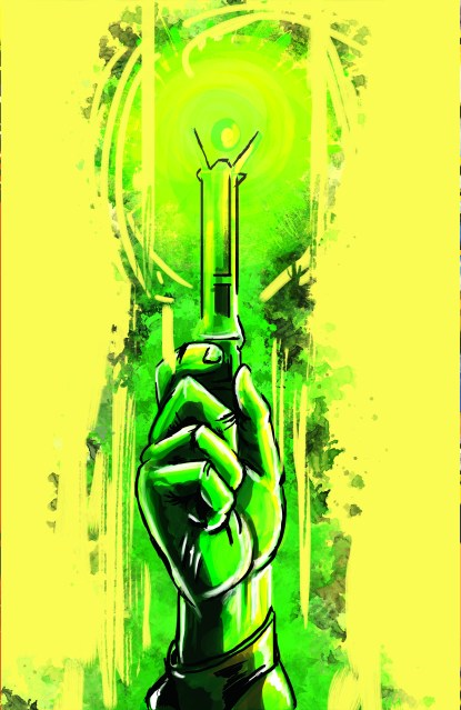 Green and yellow painting of Dr who's screwdriver weapon from dr. who show on BBC network