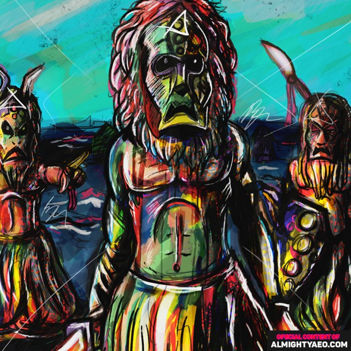 Painting of 3 voodoo doctors walking through a riverbed by the almighty aeophex