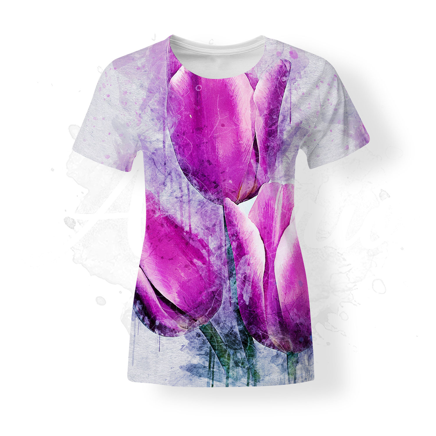 T-Shirt for women, Almirio, Tulips, pink, white