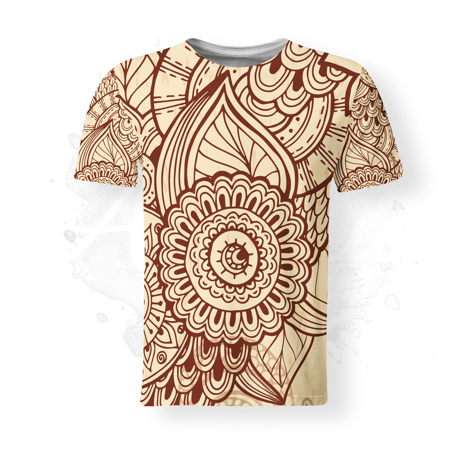 T-Shirt for men, Julia Snegireva, Two Colors Mandala, mandala, brown
