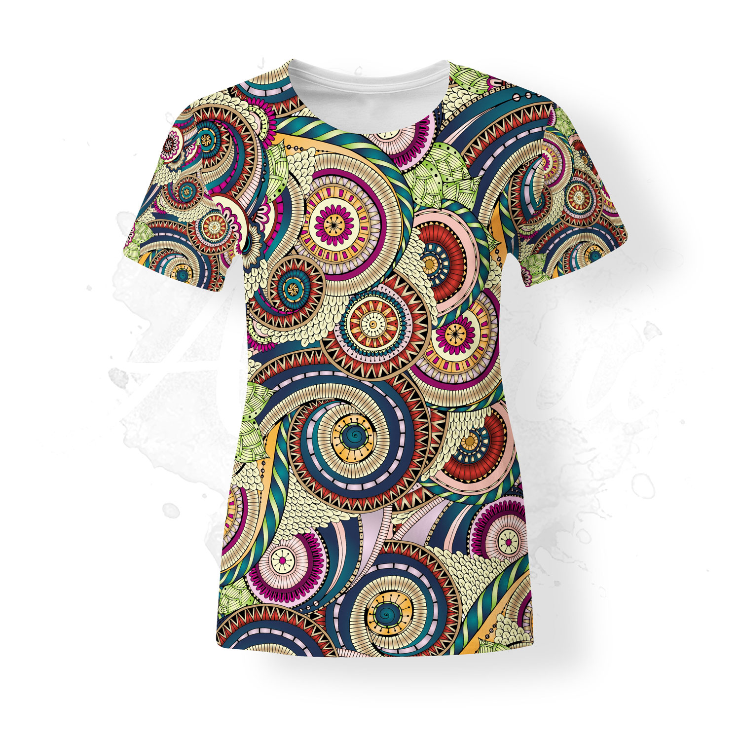 T-Shirt for women, Julia Snegireva, Colorful Mandala, colorful